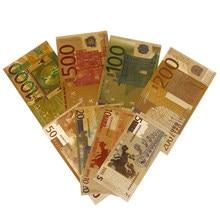 Colorido papel moneda artesanías billete Euro oro plateado papel dinero 8 Uds Set billete valor colección gran oferta