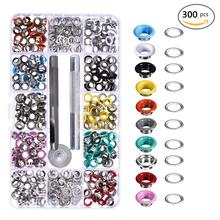 300PCS 5MM Metal Eyelet Buckles + Mounting Tools Grommets Rivets Replacement Colorful Buckle Laces Eye Hole Leather DIY Craft