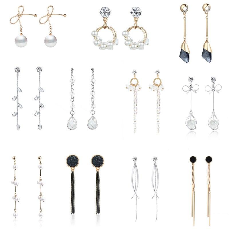 Simple Style Minimalist Jewelry Crystal Rhinestone Pearl Drop Earrings For Women Bow-knot Long Earrings Korean Temperament