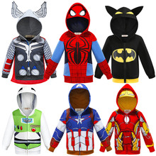 Children Spring Autumn Jacket Iron Man Spider-Man Raytheon Coat Hulk Captain America Superhero Thor Wolverine Kids Boys Hoodies