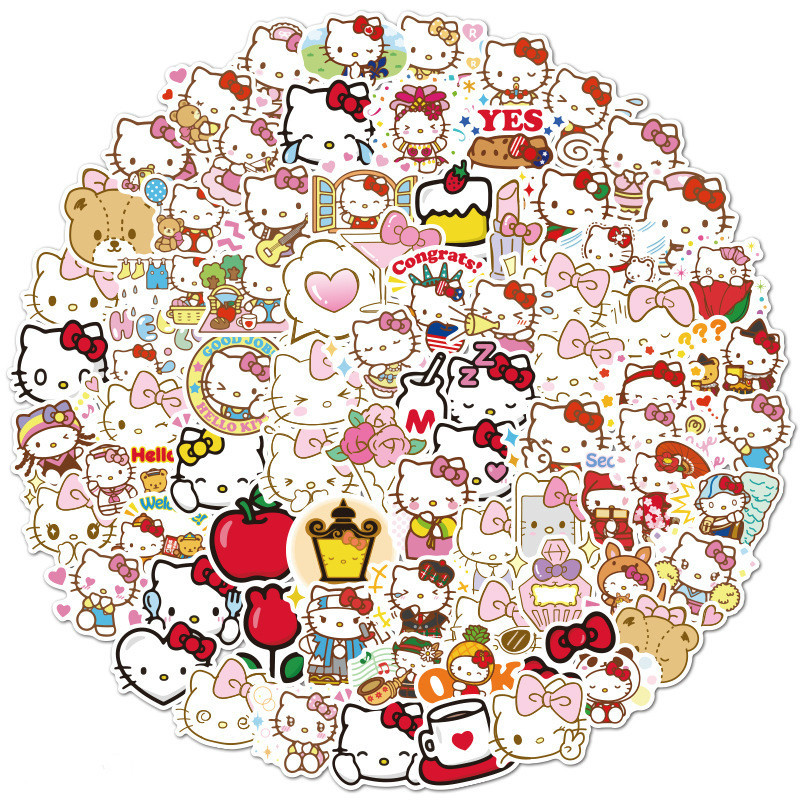 40pcs Cute Hello Kitty Stickers Waterproof Laptop Skateboard Water Cup Pegatinas Refrigerator Car Motorcycle PVC Kids Stickers