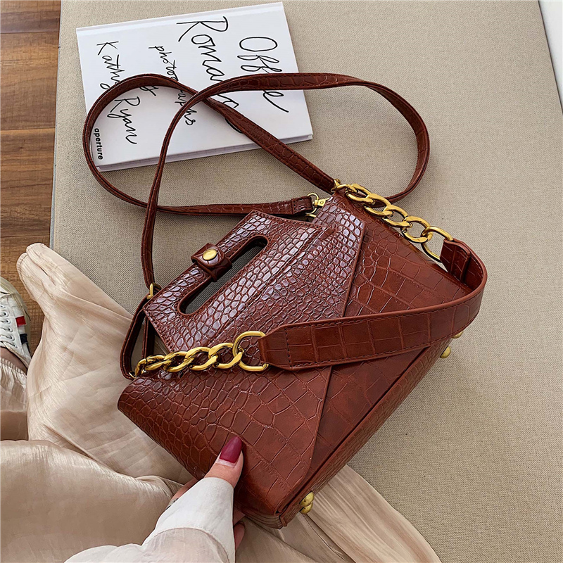Fashion Alligator Women Shoulder Bags Designer Handbags Luxury Pu Leather Chains Female Crossbody Bag Small Flap Lady Purse 2019