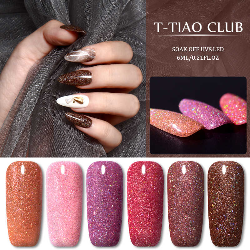 T-TIAO CLUB 6ml Del Gel Del Chiodo Polish Holographic Glitter UV Del Chiodo Del Gel Smalto Vernice Soak Off Unghie artistiche Del Gel di Semi Permanente nail Polish