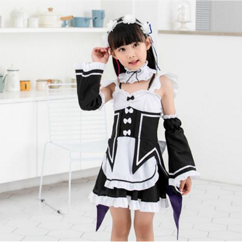 Ram Rem Cosplay Re zero Kara Hajimeru Isekai Seikatsu Re Life In a Different World Kawaii Sisters Costume Maid Servant Dress
