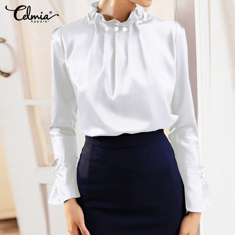 Fashion Womens Elegant Satin Office Blusas Celmia Solid Silk Long Flare Sleeve Blouse Back Zip Top Shirt Casual Femme Plus Size