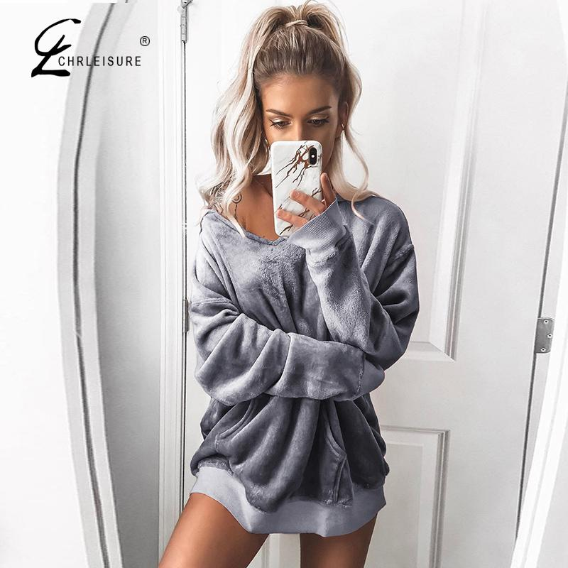 CHRLEISURE Sexy V-Neck Long Sleeve Women Hoodies Fashion Pure Solid Color Female Sweatshirt  Autumn And Winter Women Clothing