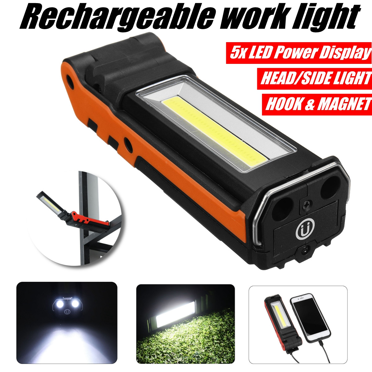 USB Rechargeable COB LED Work Light Dimmable Flashlight Magnetic Inspection Lamp With Hook Power Bank 2000mAh 18650 Battery
