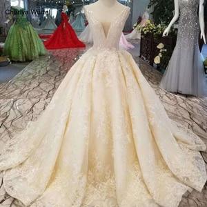 Image 1 - LSS1011 sexy vestidos de noiva sem mangas até o chão apliques v back beleza brilhante vestidos de casamento белый сарафан