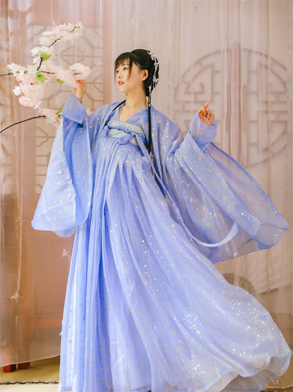2020 Hanfu Coat Women Embroidery Shiny Navy Cloak Chinese Traditional Ancient Costume Chinese Style Coat Sunscreen Cardigan