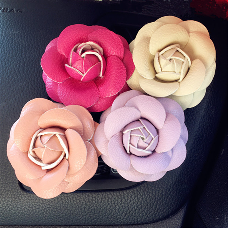 Car Air Conditioning Air Outlet Clip Aromatherapy Creative Camellia Lasting Fragrance, Ornaments Car Interior Accessories