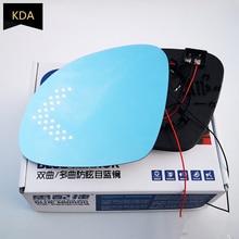 2pcs Blue Mirror Glass Heated Angle Wide Glare Proof LED Turn Signal Lamp for VW Tiguan 2009 2018 Sharan 2012 2018 Skoda Yeti