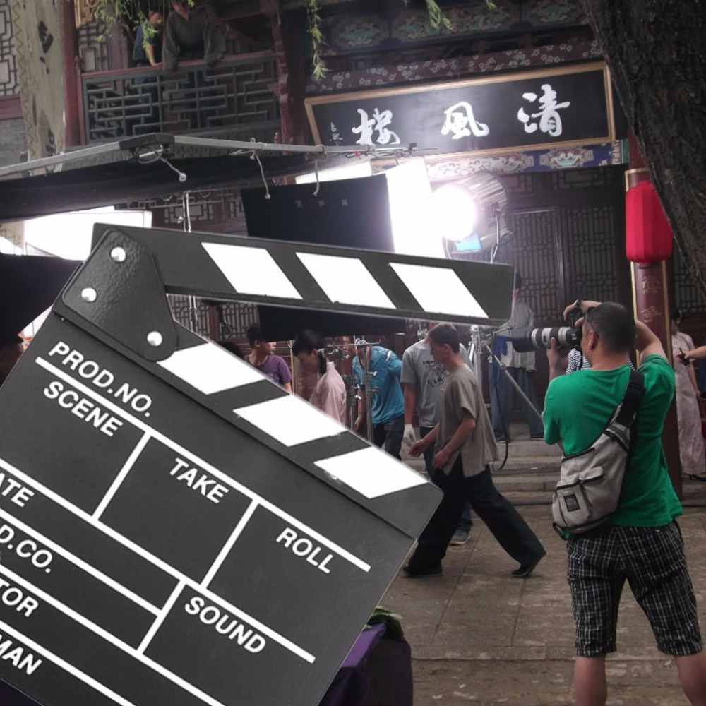 Director Video Scene Clapperboard TV Movie Clapper Board Film Slate Cut Prop in Photo Studio Accessories from Consumer Electronics