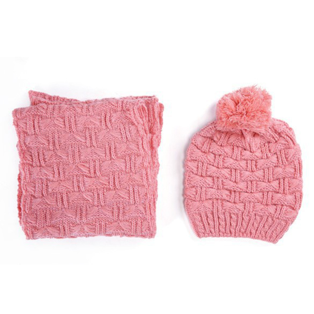 Autumn And Winter Thick Warm Knitted Hats Scarf Rings Shawl 2Pcs Set Ladies Cotton Knitted Stretchy Wrap Stole Beanies Caps Sets