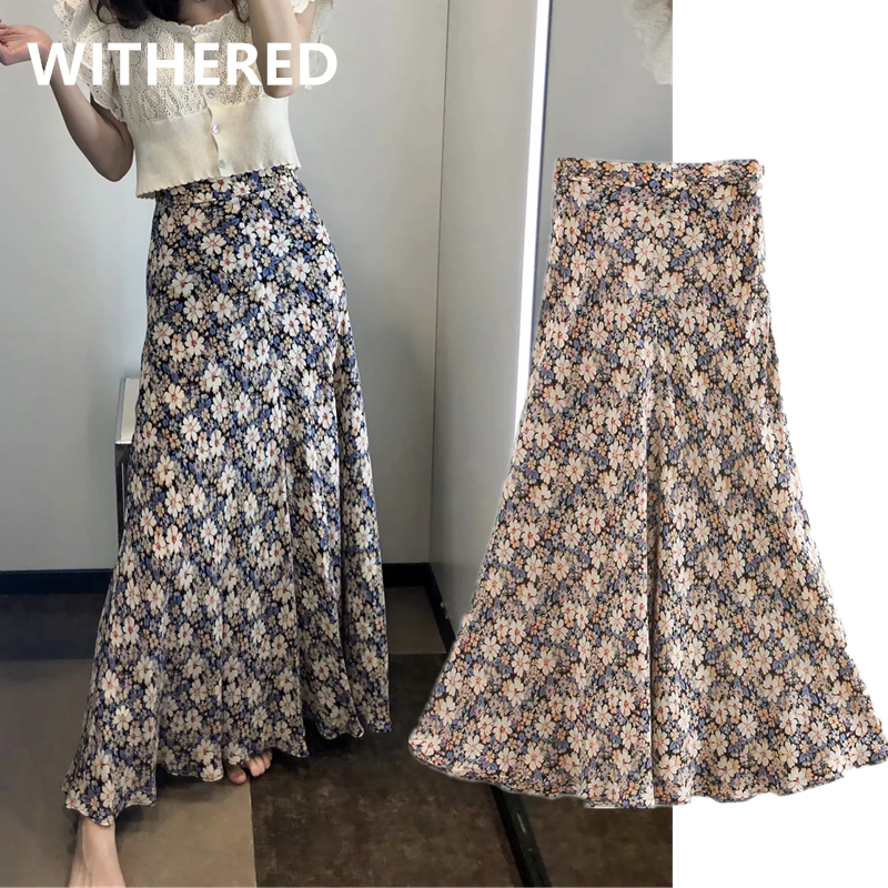 Withered Ins Fashion Blogger Indie Folk Floral Print Beach Summer Long Skirt Women Faldas Mujer Moda 2020 Midi Skirts Womens