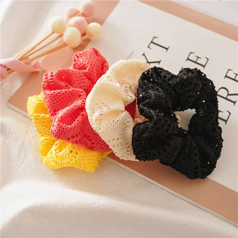 Women Hollow Out Scrunchies Elastic Hair Bands Rubber Hair Rope Ponytail Holder Vintage Hair Scrunchie Women Hair Accessories