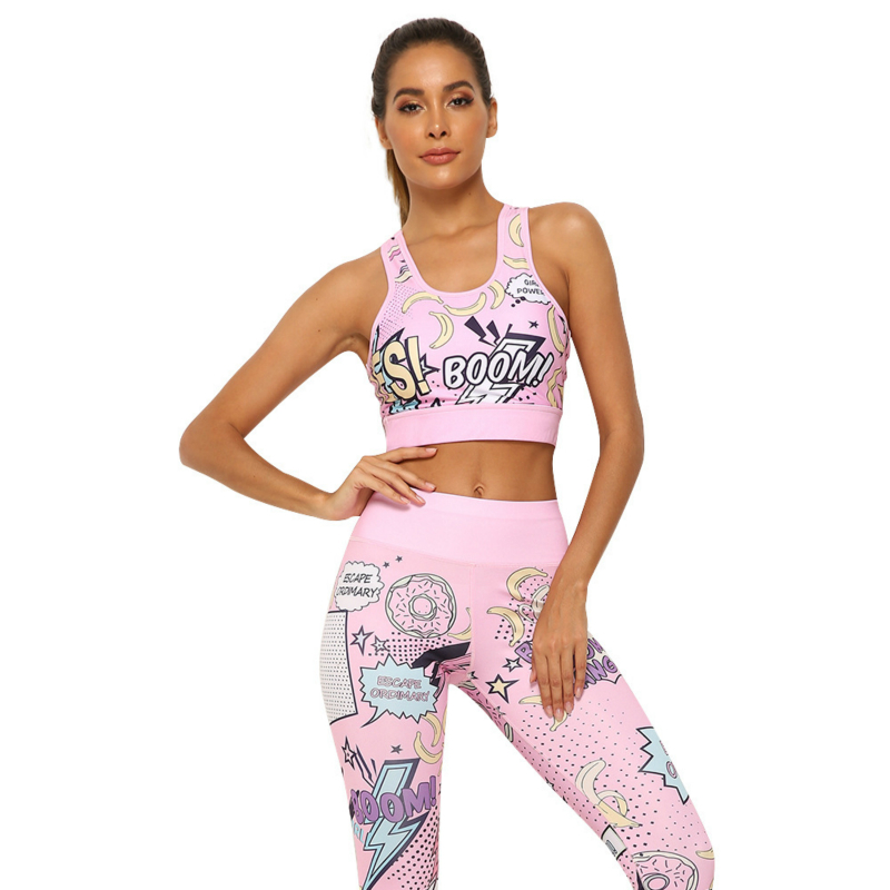 2pcs/set New Fashion Leggings Set For Women BOOM Digital Printing Cartoon Funny Jeggings Comic Hip Push Up High Waist Leggings