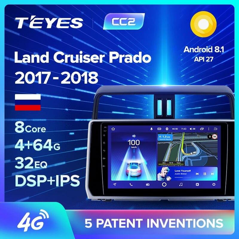 Teyes cc2 para toyota land cruiser prado 150 2017 rádio do carro reprodutor de vídeo multimídia navegação gps android 8.1 nenhum 2din 2 din dvd