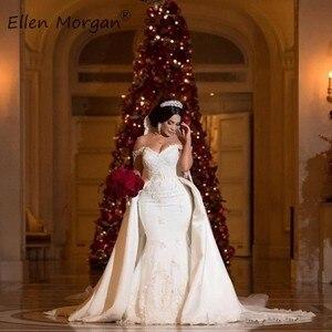 Image 2 - Off Shoulder Lace Mermaid Wedding Dresses Detachable Skirts Court Train Satin Elegant for Bridal Long Vestido De Novia 2020