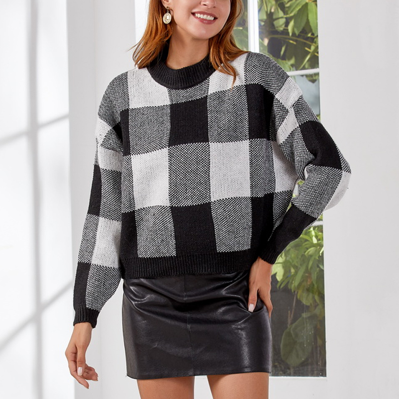 DeRuiLaDy 2019 Women New Fall Classic O-Neck Sweater Tops Womens Leisure Jumper Knitted Pullovers Winter Black Lattice Sweater