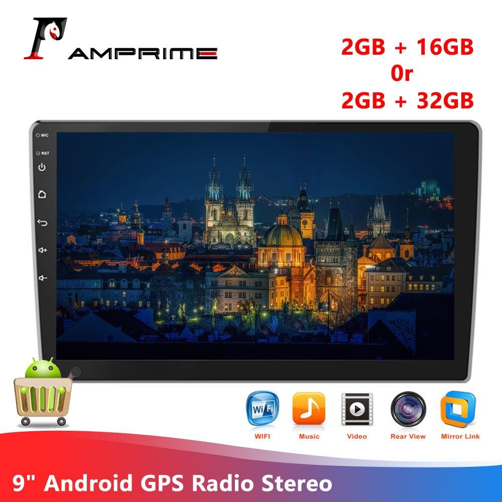 AMPrime 2 Din Android Radio samochodowe z GPS 9 cali 1080P 2.5D szkło hartowane lustro 2 Din samochód MP5 odtwarzacz Bluetooth WIFI GPS Radio FM