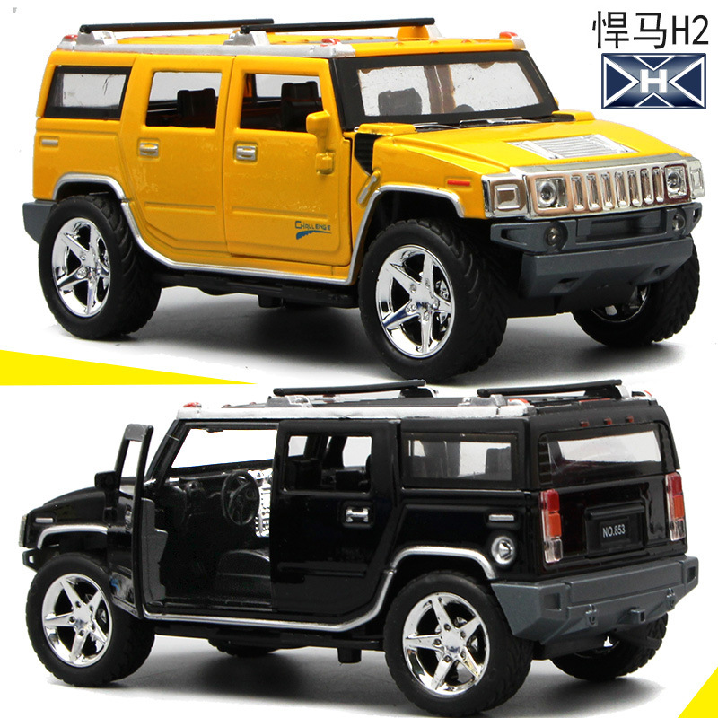 1:32 High Simulation Hummer H2 Off-road Alloy Car Model Sound And Light Pull Back Door Boy Car Toy For Children Gifts