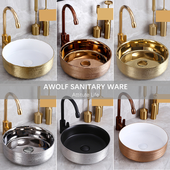 Art Bathroom Sinks Ceramic Vessel Washing Basin Bowl Brushed Rose Gold Golden Matte Black White Grave Retro Luxury Basin AM890 jingde ceramic bathroom wash basin art basin ellipse gold purple