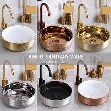 Cuarto de baño fregaderos Art recipiente de cerámica antiguo lavabo de 400*400*150mm restaurar antiguas formas ronda Lavatary fregadero AM863