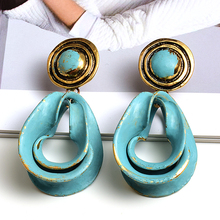 ZA Fashion Trend New Arrive Vintage Statement Drop Earrings Metal Oil Hanging Dangle Brincos Jewelry Accessories For Women