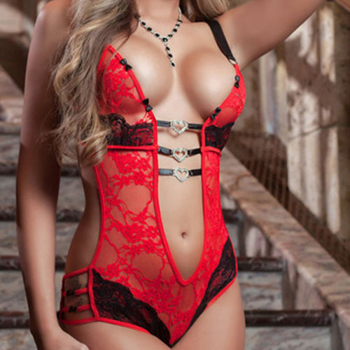 Neue Sexy Spitze Sexy Dessous Anzug Damen Tanga Sommer Pyjamas Hohl Liebe Einteiliges Sexy Dessous Kleidung