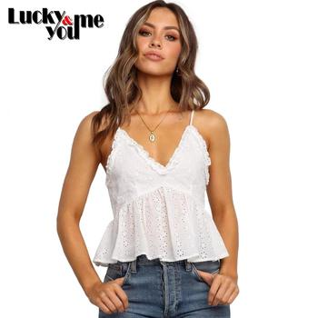 цена на New Arrive 2020 Womens Summer V-neck Lace Backless Sexy Sling Short Camis Top Girls Casual White Crochet Street Beach Camis Tops