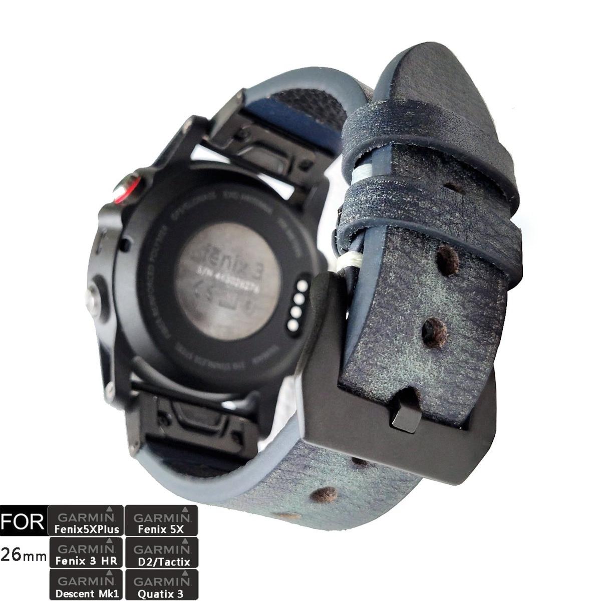 For Fenix 3/Fenix 6X Watch Band 26mm QuickFit Vintage Genuine Leather Wristband Strap For Garmin Fenix 5X/5X Plus,Tactix Bravo