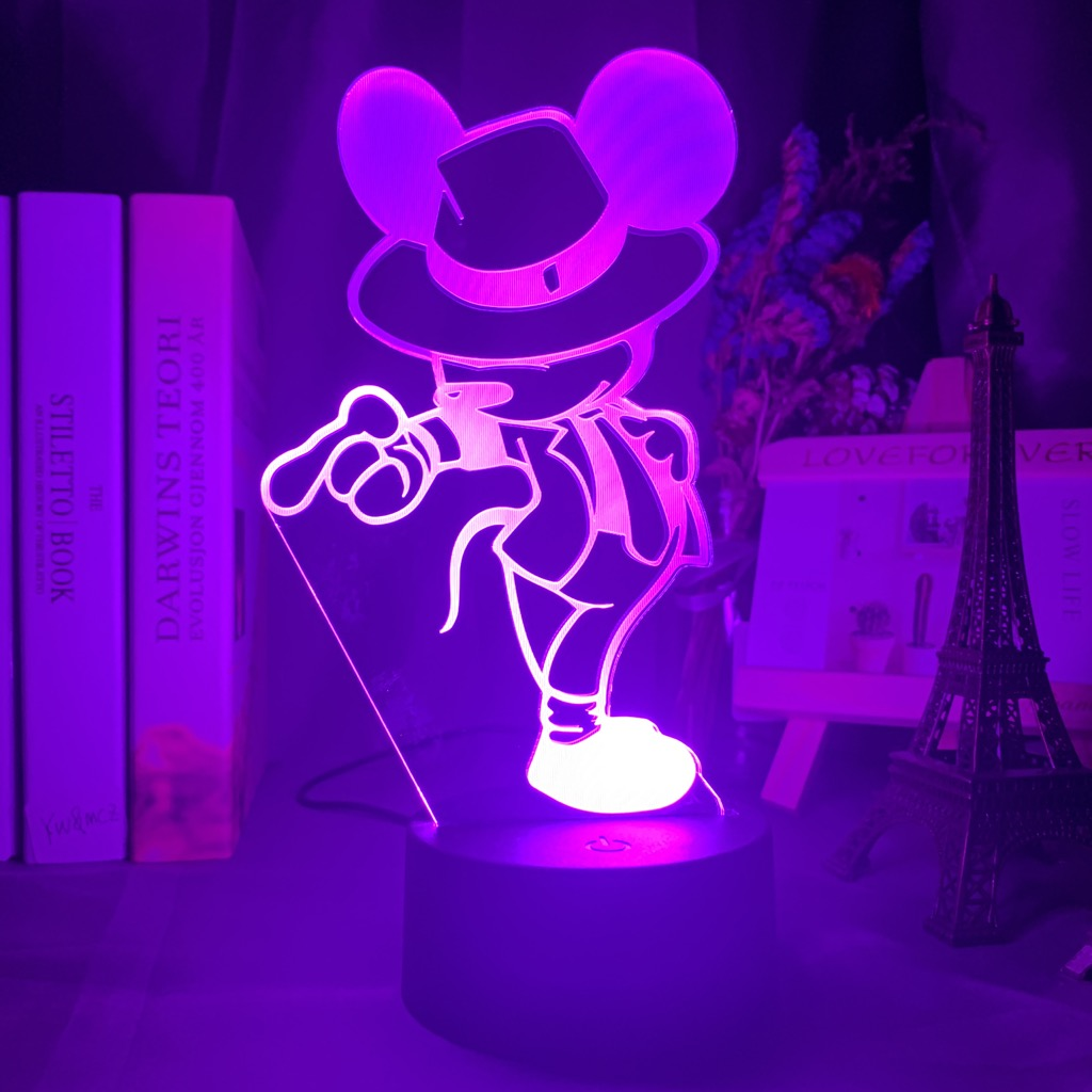 Mickey Michael Jackson Figure 3d Optical Led Night Light for Kids Bedroom Decoraion Nightlight Usb Battery Table Lamp Gift