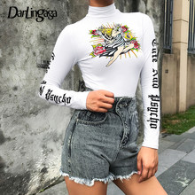 Darlingaga Mode-esthetiek Brief Print Herfst T-shirt Coltrui Wit Crop Top Grafische Tees Vrouwen T-shirt Met Lange Mouwen Casual(China)
