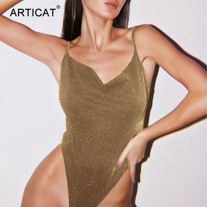><font><b>Articat</b></font> <font><b>Sexy</b></font> Spaghetti Strap <font><b>Sparkly</b></font> Bodysuit Women Low Collar Backless Solid Bodycon Rompers 2020 Spring Female Jumpsuit Clothe