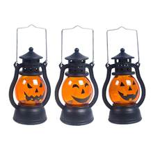 Halloween Party Light Up Pumpkin Lantern Oil Lamp Wind Light Dazzling Toys For Home Bar School Halloween Decoration(China)
