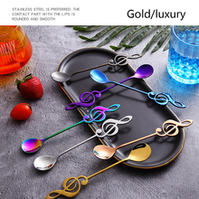 Colorful Stainless Steel Flatware musical note spoon Creative Milk Coffee Spoon Ice Cream Candy Teaspoon accessorie