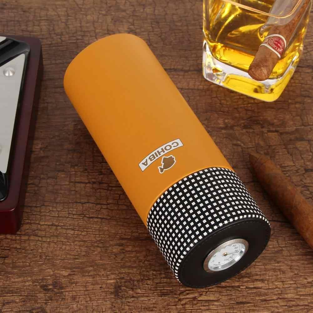 COHIBA кожаный дорожный хьюмидор, коробка для сигар из кедрового дерева, портативный чехол для сигар с гигрометром и увлажнителем, коробка для гимидора, подходит для 5 кубинских сигар