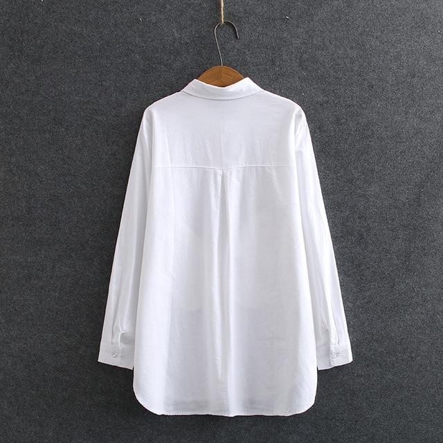 White Long Sleeve Blouse Shirt Women Oxford Shirts Pockets Loose Plus Size Casual Shirts Turn-down Collar KKFY4774 2