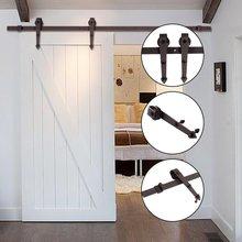 6.6FT Sliding Barn Door Hardware Track Bent Hanger System Kit Top Mounted Hanging Steel Closet Door Roller Rail Set