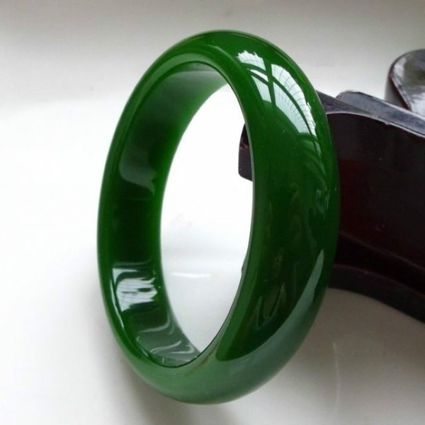 Genuine Natural Green Jade Bangle Bracelet Fashion Charm Jewellery  Accessories Hand-Carved Amulet Gifts For Women Men