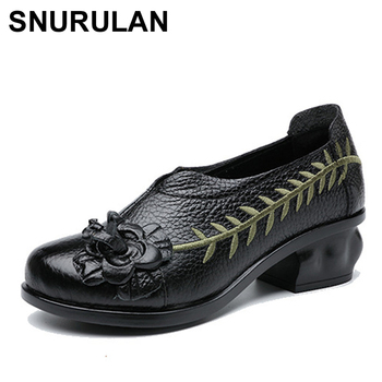 SNURULAN  new flower genuine leather women low heel pumps embroidery shoes for women women soft autumn handmade office shoes