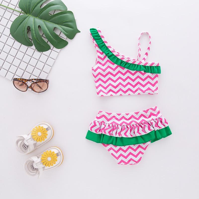 Girls' Two-piece Swimsuit Ridge Design Green Hua Bian Kuan 2 Pieces Children Hot Springs Tour Bathing Suit