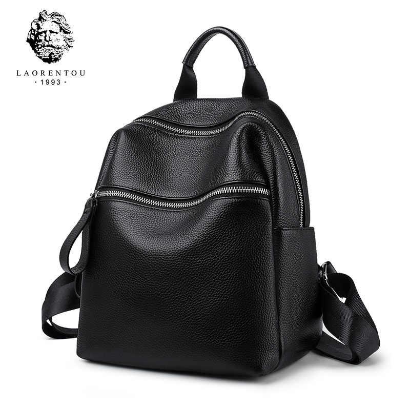 LAORENTOU, bolso escolar de cuero auténtico para adolescentes, para vacaciones de niñas, bolso de viaje para mujer, mochila negra, bolso de negocios informal para mujer