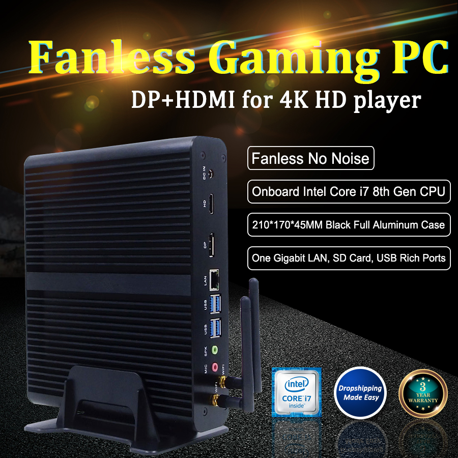 Fanless System Mini Gaming PC Core I7-8550U Low Power PC Desktop Rich Ports Mini Computer Without Cooling Fan