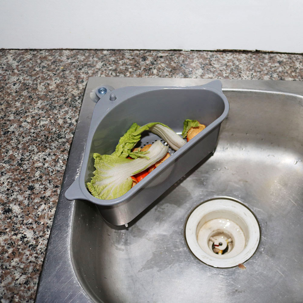 Kitchen Triangular Sink Strainer Drain Vegetable Fruit Drainer Basket Suction Cup Sponge Rack Storage Tool Sink Filter Shelf