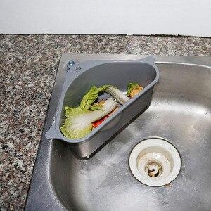 VIP Kitchen Triangular Sink Strainer Drain Vegetable Fruit Drainer Basket Suction Cup Sponge Rack Storage Tool Sink Filter Shelf