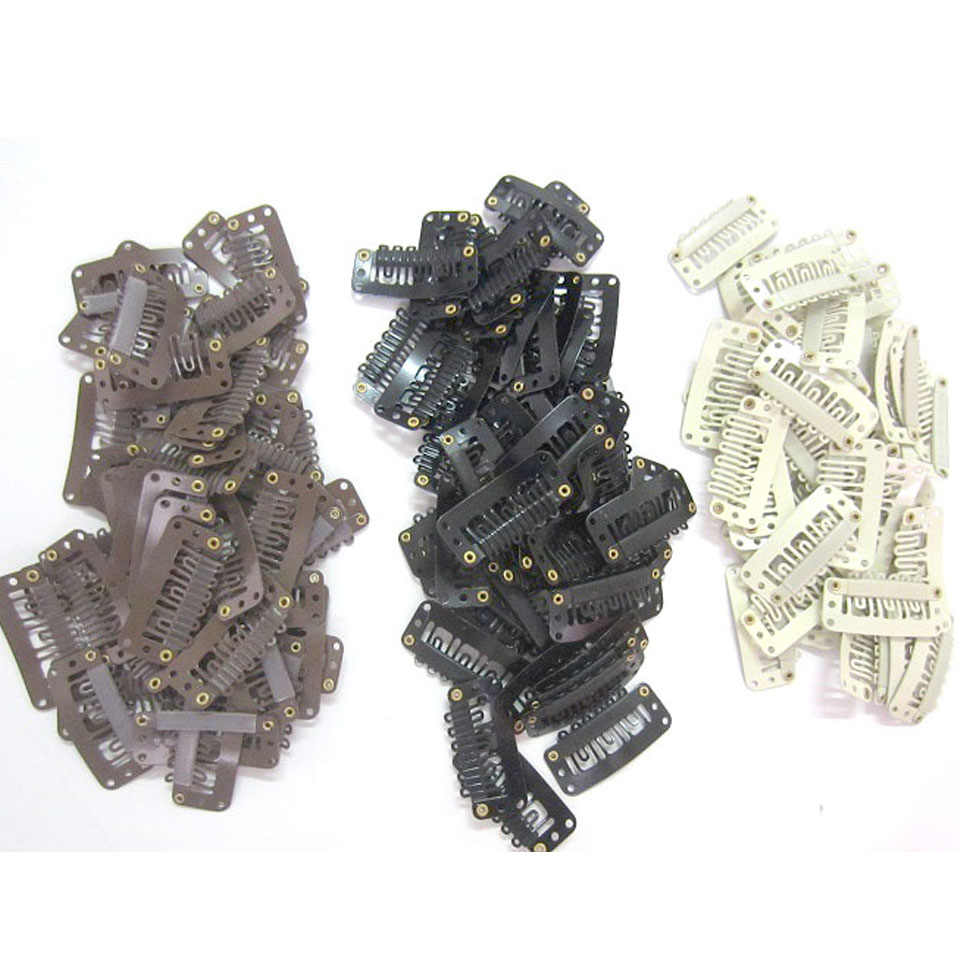 ZZHAIR 100pcs Wig tools Clips Combs Snap Clips with Rubber for Hair Extension Toupee DIY 6 Teeth 3.3cm Black Brown Blonde
