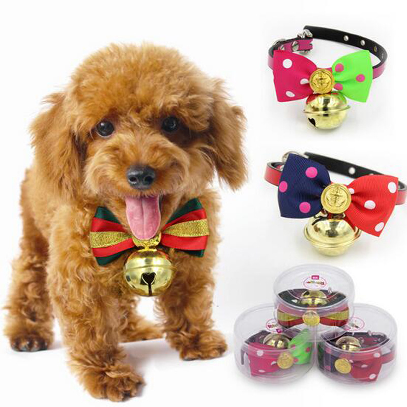 Pet Dog Bow Neck Ring Large Bell Bowtie Teddy Bichon Cat Accessories Hanging Decoration Necklace Adjustable