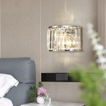 Modern LED wall light in the living room chrome crystal wall sconce bedroom bedside foyer semicircle light fixtures(China)