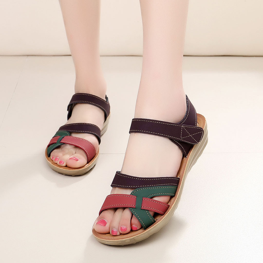 Sandals Wedge Comfort Shoes Big-Size Summer Women Ladies Hook Loop Mixed-Color